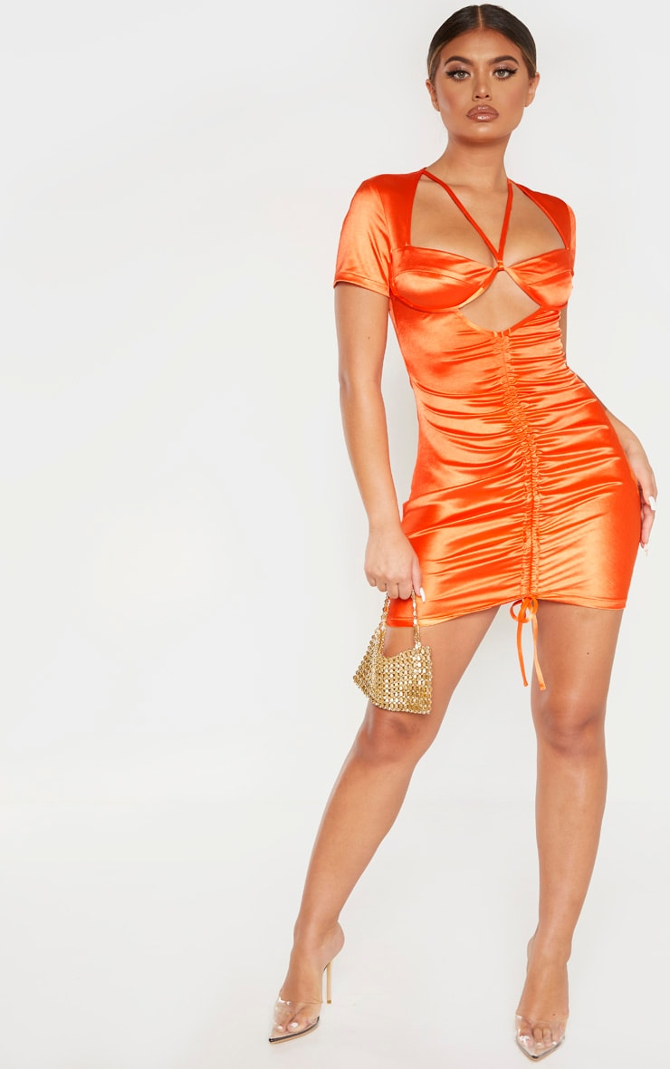 Orange Satin Cup Detail Ruched Front Bodycon Dress 4