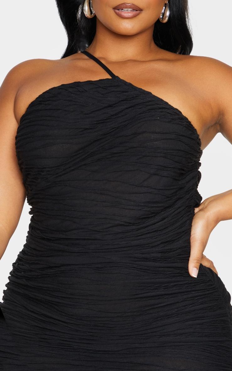Plus Black Textured Asymmetric Ruched Dress 4
