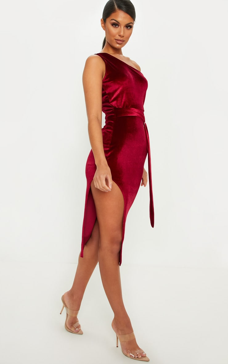Burgundy One Shoulder Velvet Midi Dress 4
