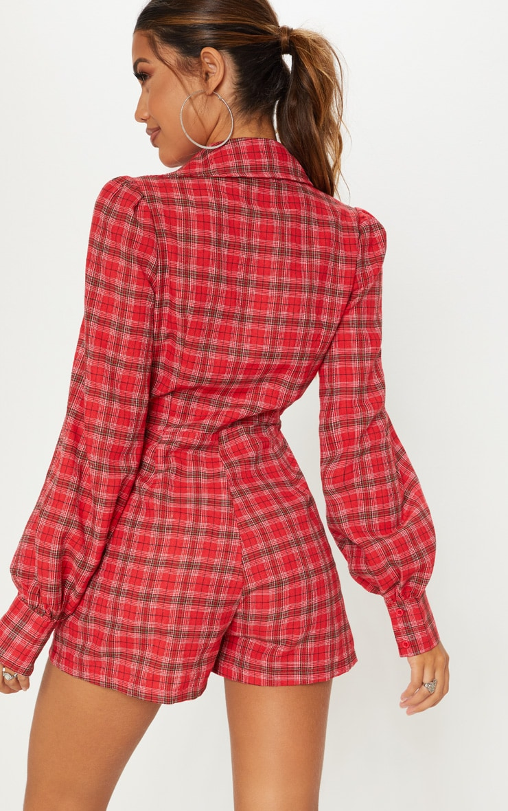 Red Check Puff Sleeve Button Up Playsuit 2