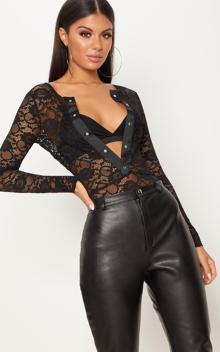 Black Lace Popper Front Thong Bodysuit 1