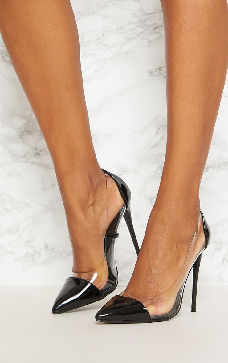 Black Patent Clear Court Shoes  2
