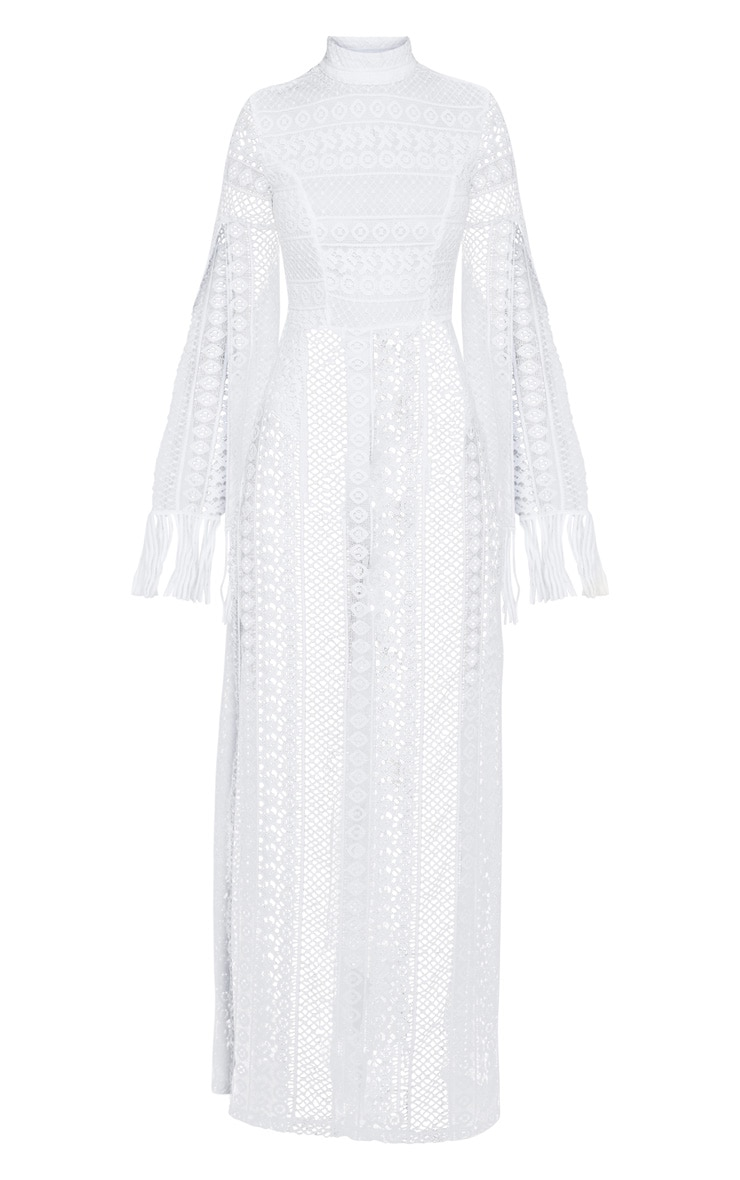 White Crochet Split Leg Maxi Dress 2
