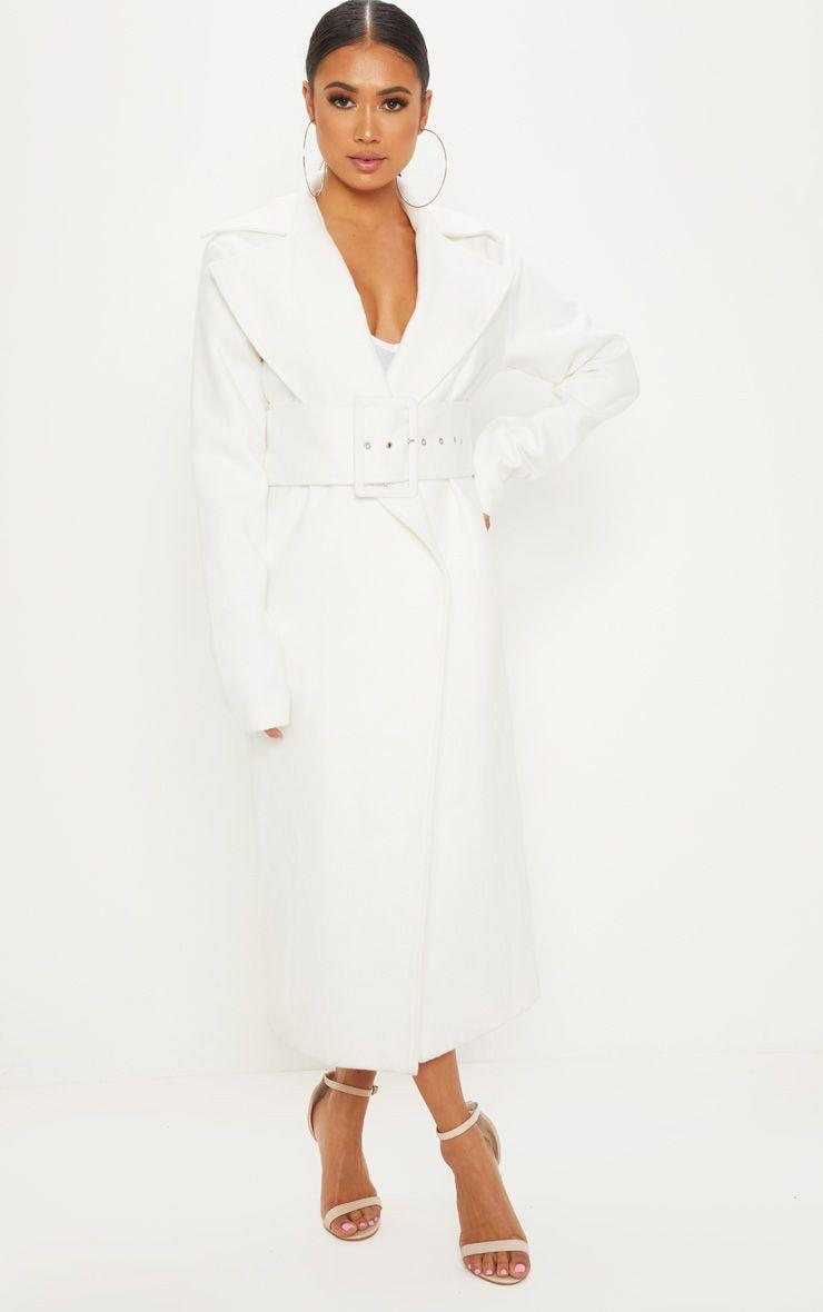 Petite Cream Belted Coat 1