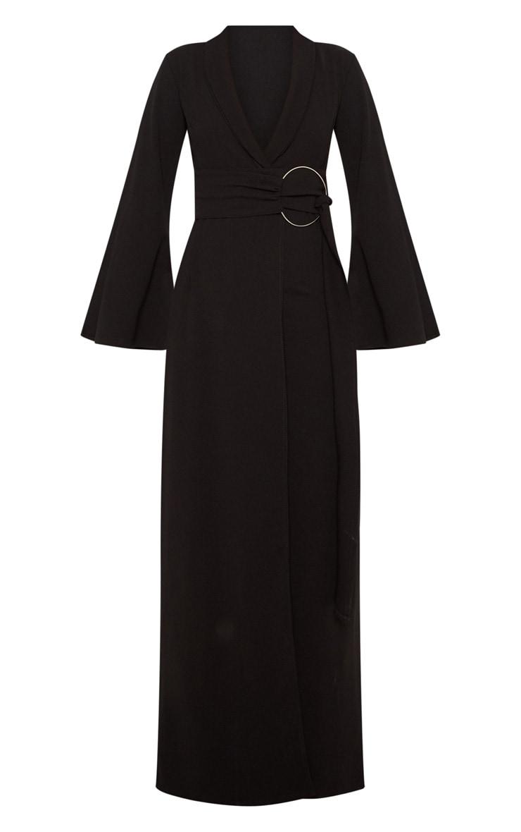 Black Ring Detail Maxi Blazer Dress 3