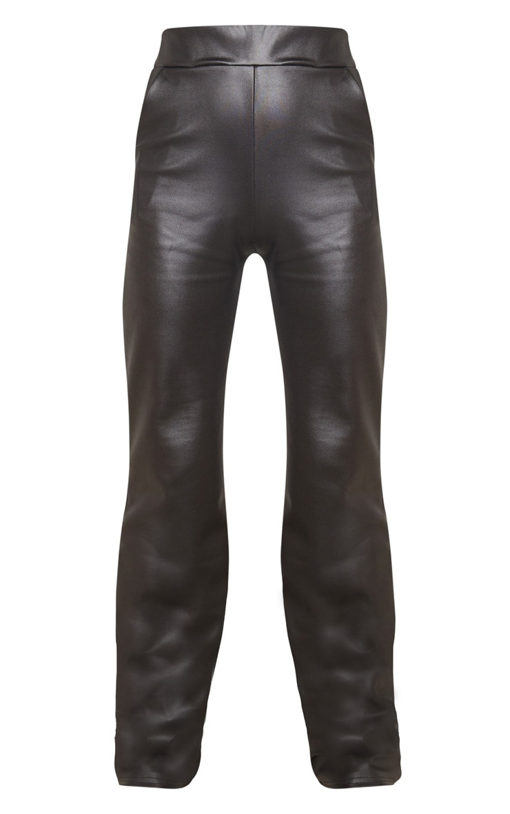 Tall Black Wide Leg PU Flared Trouser 3