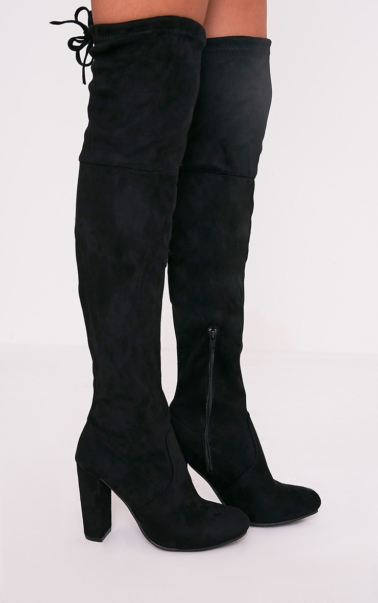Bess Black Faux Suede Heel Thigh Boots 1