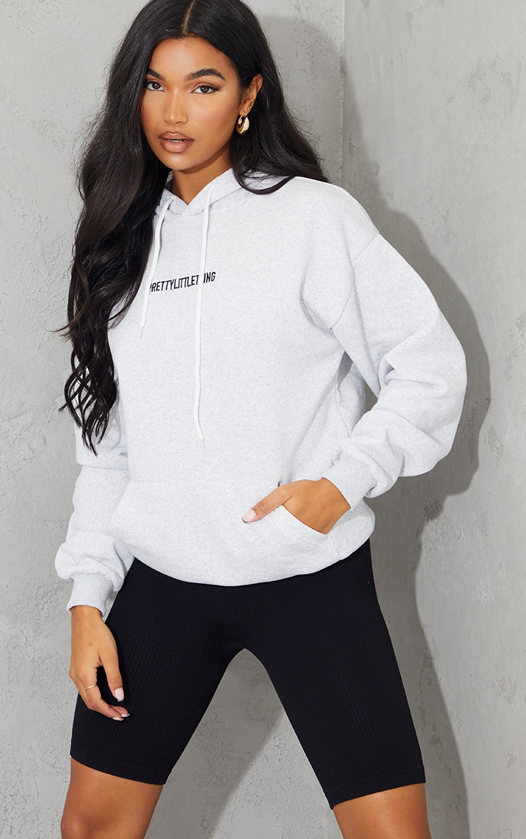 PRETTYLITTLETHING Ash Grey Embroidered Graphic Pocket Hoodie 1