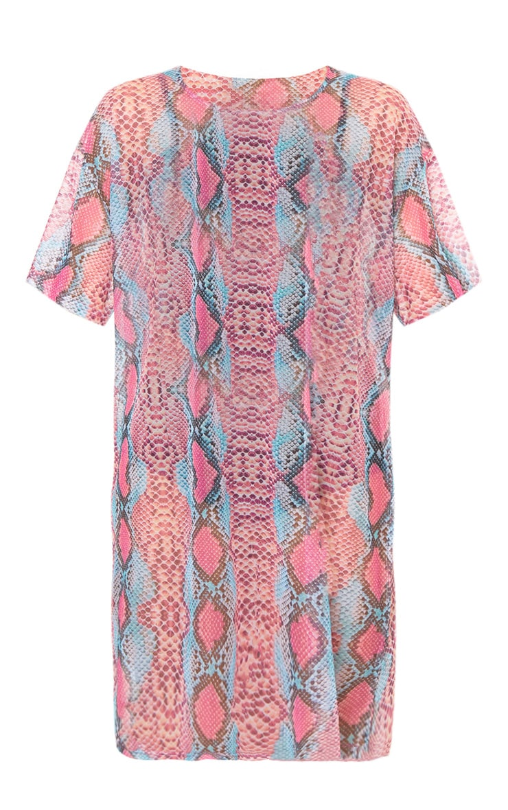 Pink Mesh Snake T Shirt Dress 3