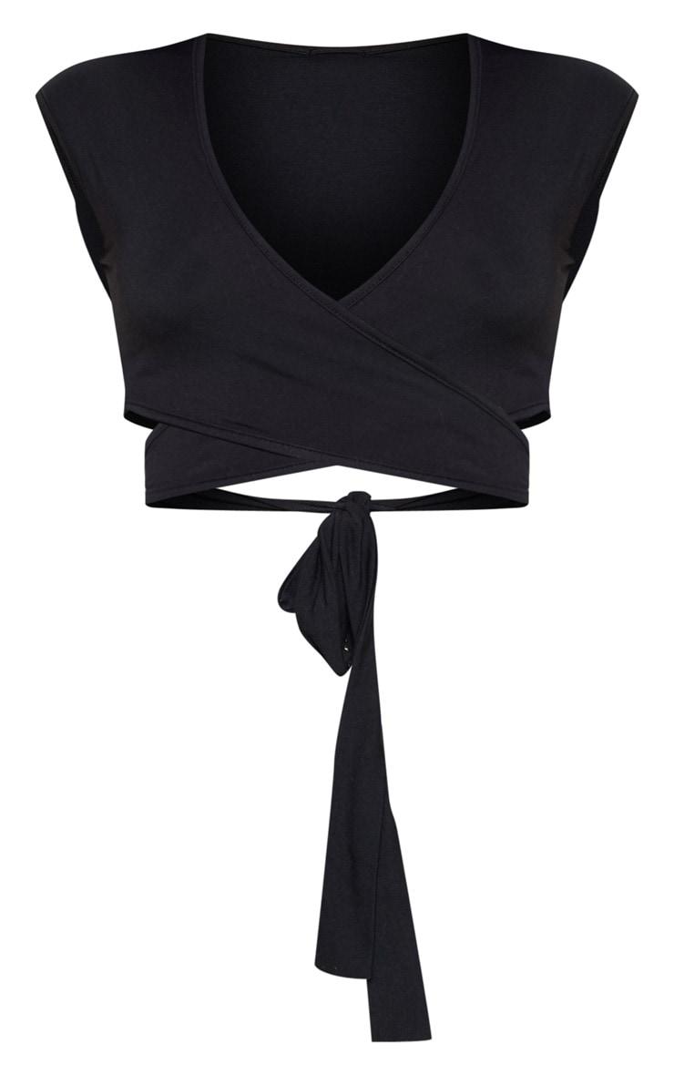 Black Jersey Plunge Tie Detail Sleeveless Crop Top 3