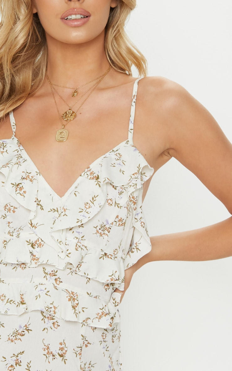 White Strappy Floral Frill Detail Bodycon Dress 5