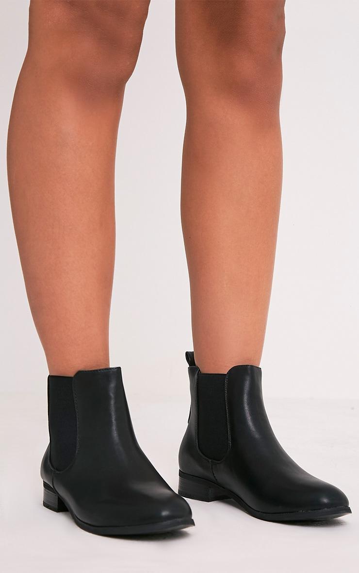 Kenley Black Faux Leather Chelsea Boots 2