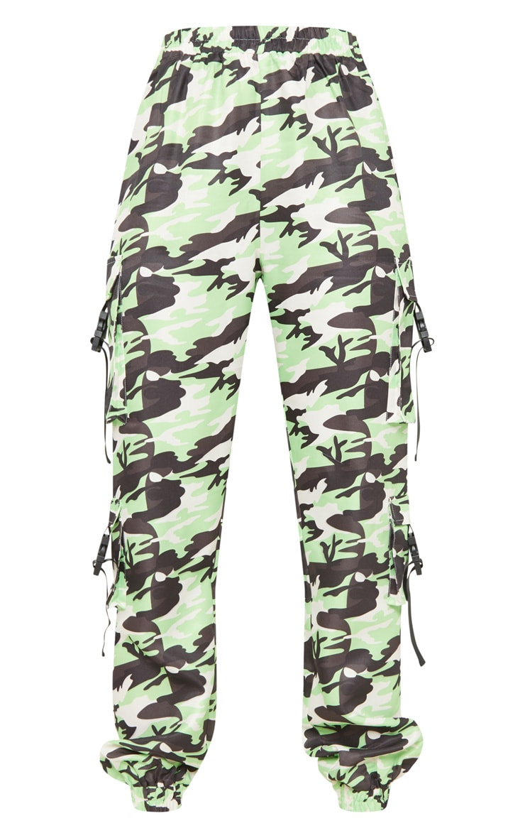 Tall Neon Lime Camo Pocket Detail Cargo Trousers 3