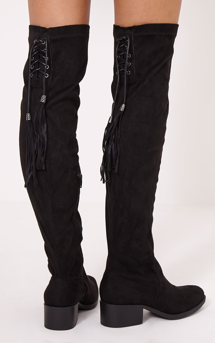 Tracey Black Faux Suede Tassel Thigh Boots 2