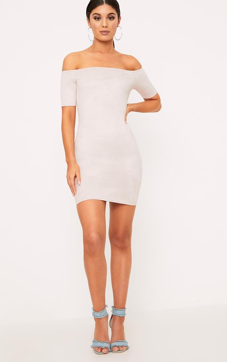 Cassandra Stone Suede Bardot Cap Sleeve Bodycon Dress  4