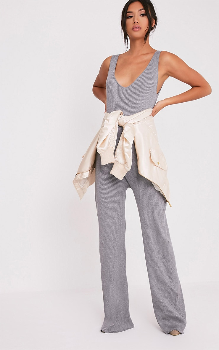 Kirstina Grey Ribbed Wide Leg Knitted Jumpsuit 1