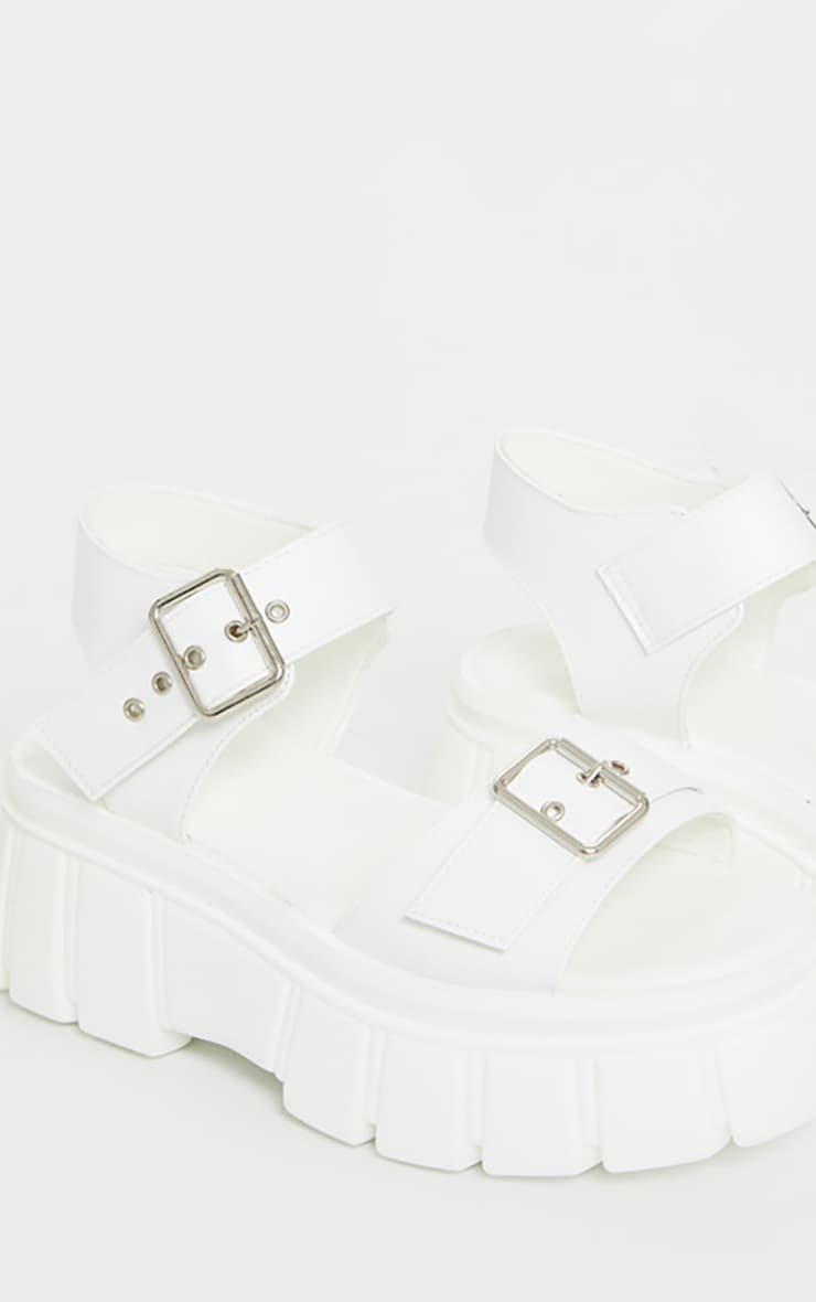 White Chunky Sole Buckle Detail Sandal 5