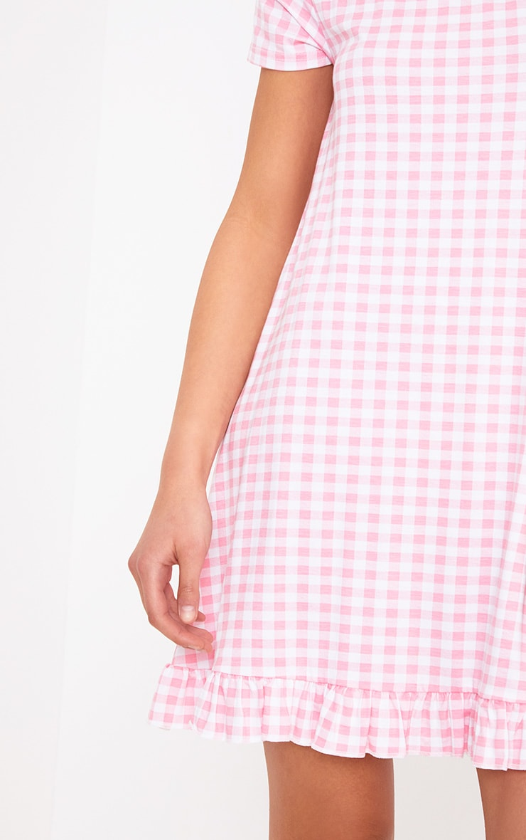 Baby Pink Gingham Bardot Frill Hem Swing Dress 4