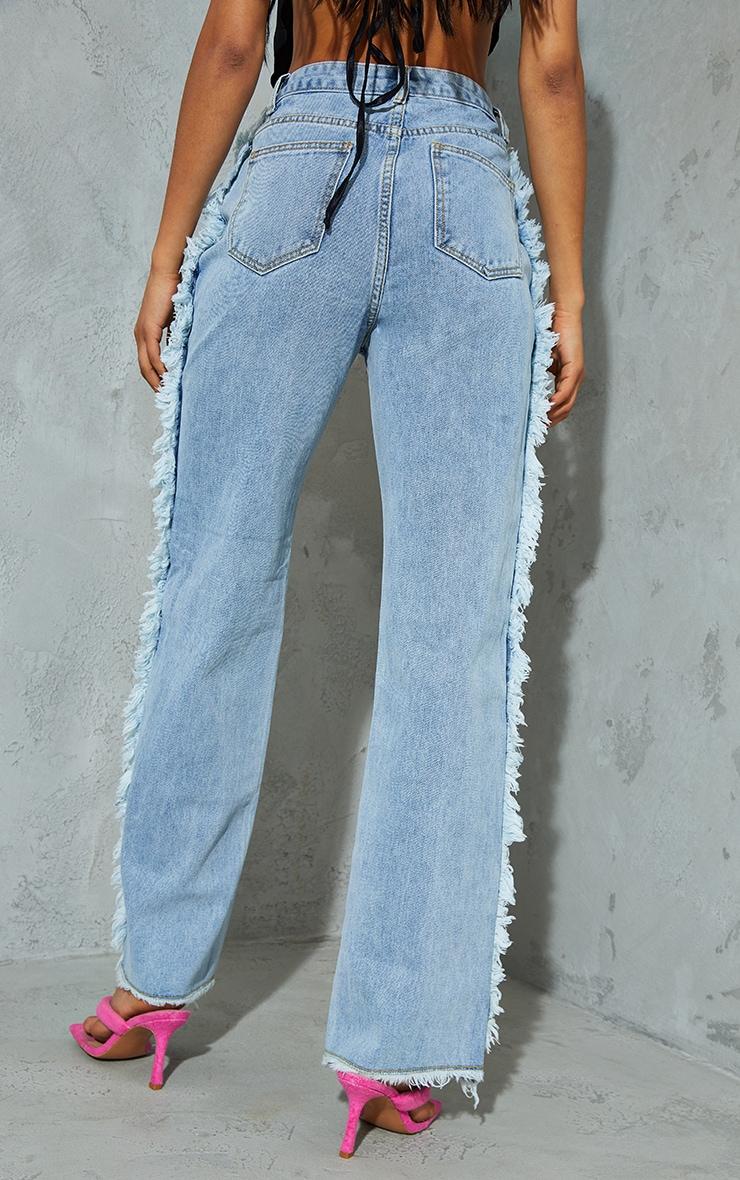 Light Blue Wash Wide Leg Seam Detail Jeans 3
