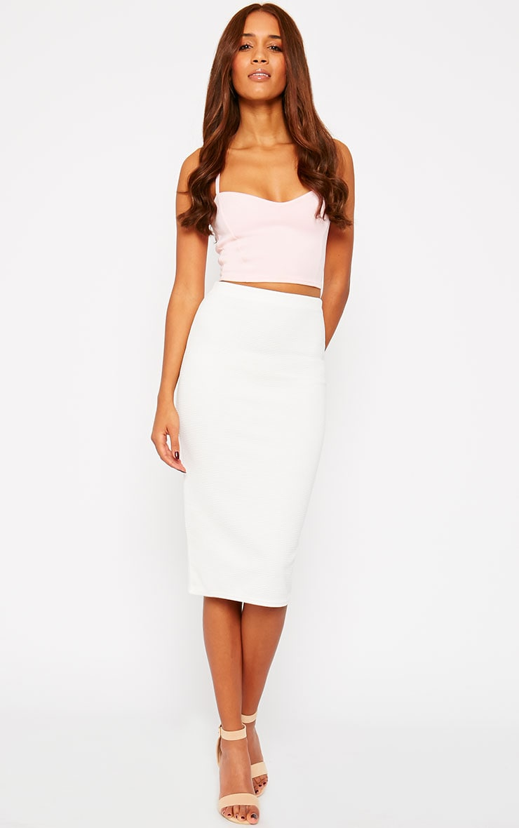 Morgan Cream Ribbed Midi Skirt 1
