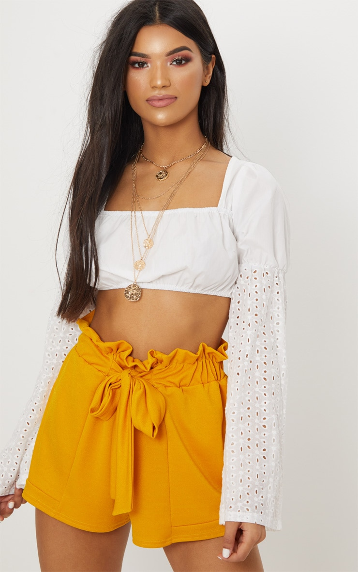 Mustard Crepe Ruched Tie Waist Shorts 2