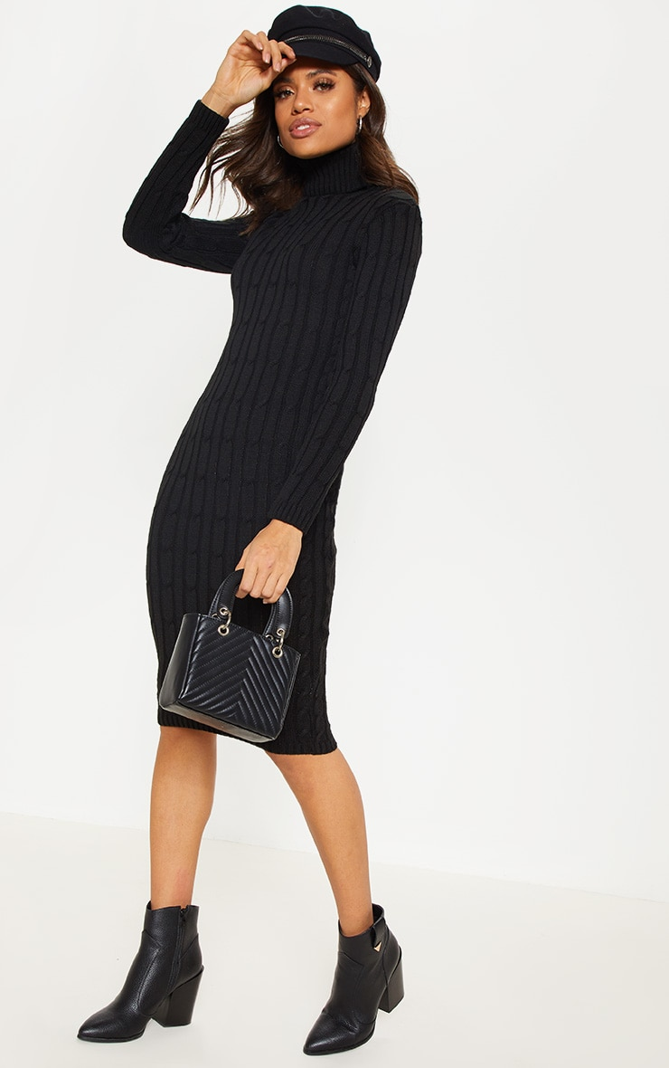 Black Cable Knitted Long Sleeve Dress 4