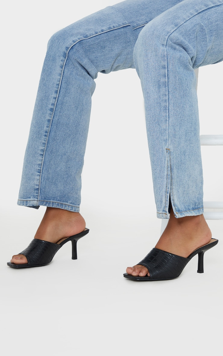 Black Croc Low Heel Square Toe Mule 2