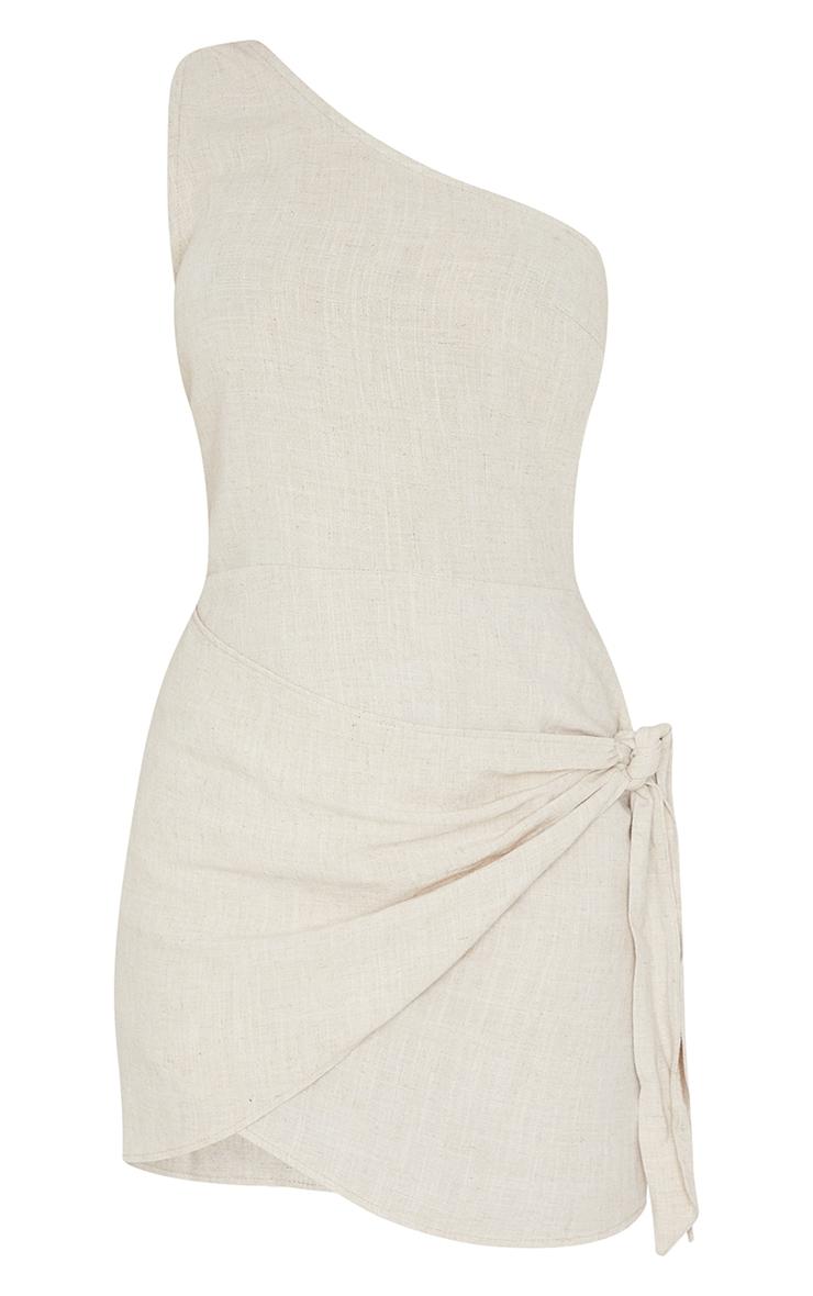Stone Linen One Shoulder Knot Detail Wrap Skirt Bodycon Dress 5