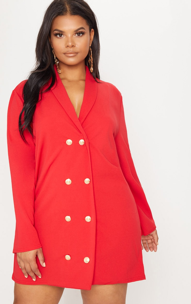 2ab88f759993b Plus Red Gold Button Oversized Blazer Dress image 1