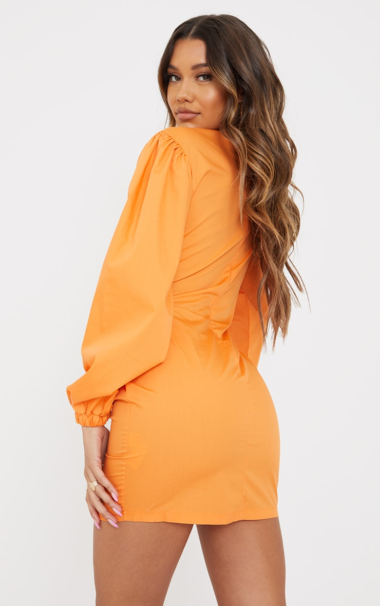 Tangerine Bow Tie Front Cut Out Bodycon Dress 2
