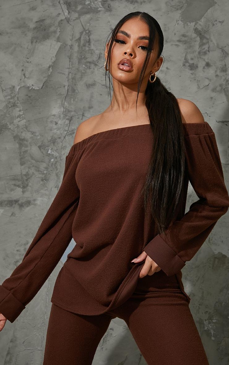 Chocolate Brown Soft Brushed Rib Bardot Sweater 1