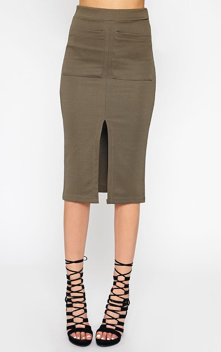 Nala Khaki Pencil Pocket Skirt 2