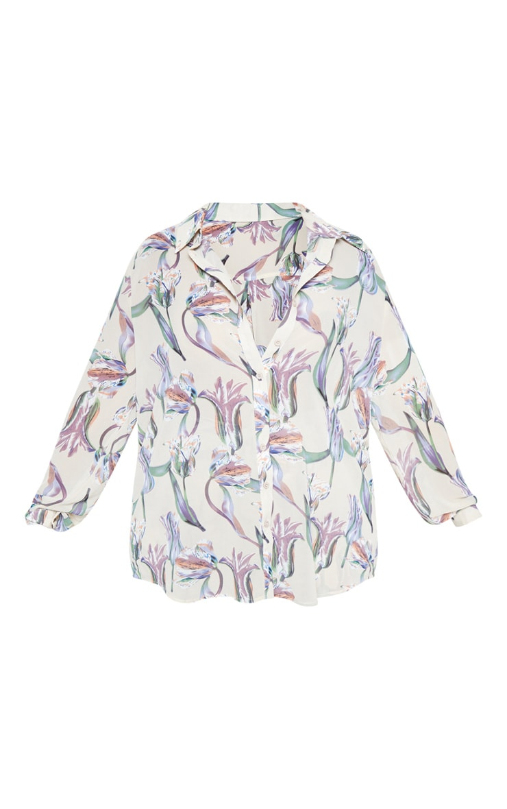 Plus Dusty Pink Satin Floral Oversized Shirt 3