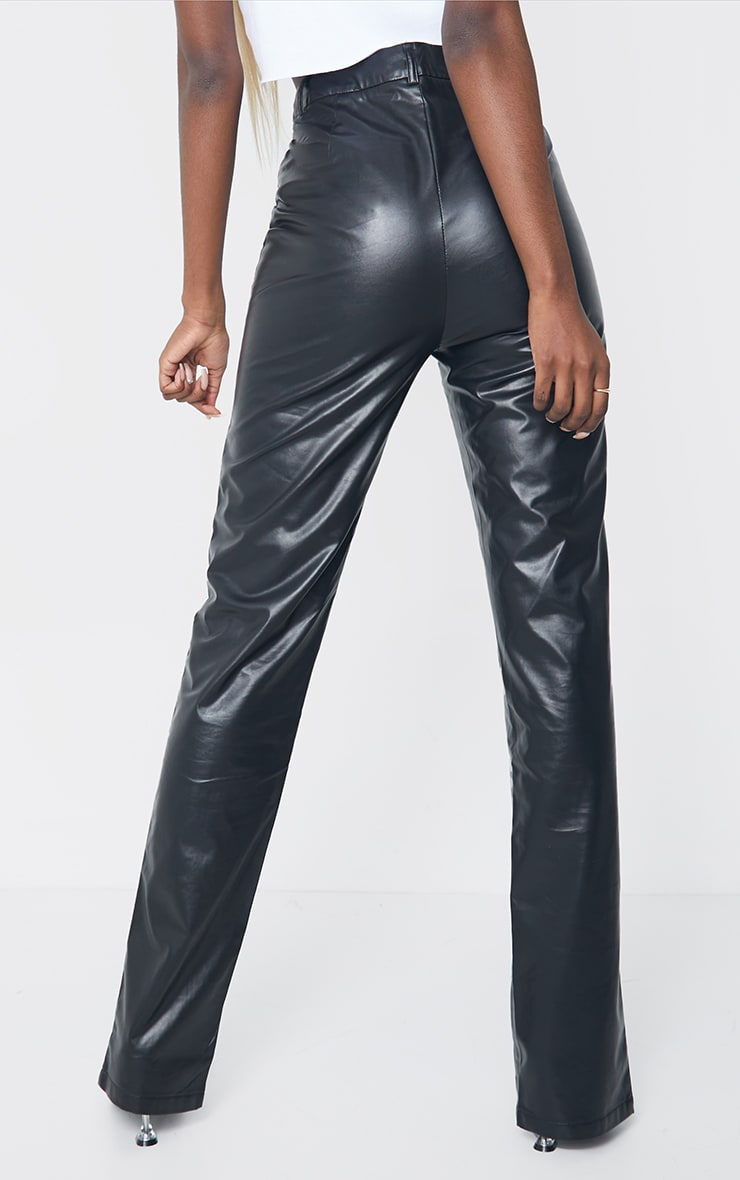 Tall Black Faux Leather Split Hem Seam Detail Skinny Pants 3