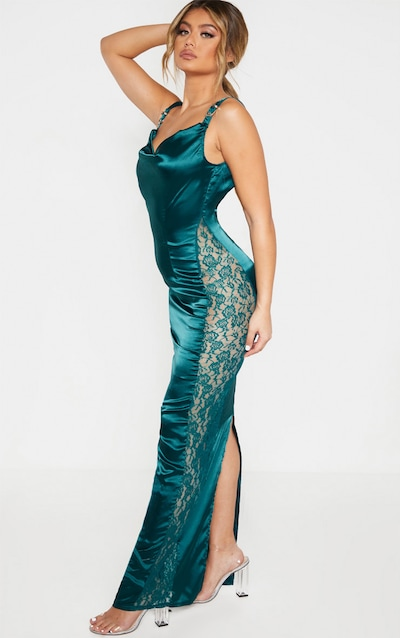 Emerald Green Satin Buckle Strap Maxi Dress