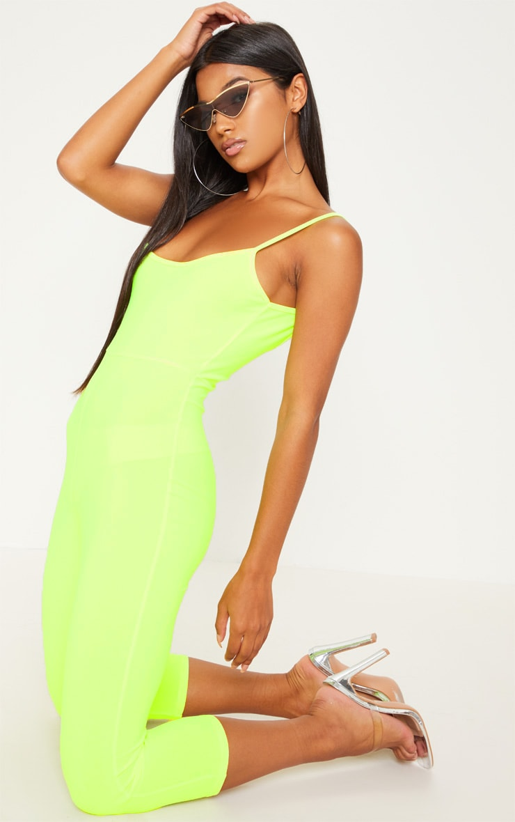 Neon Yellow Strappy Unitard 4
