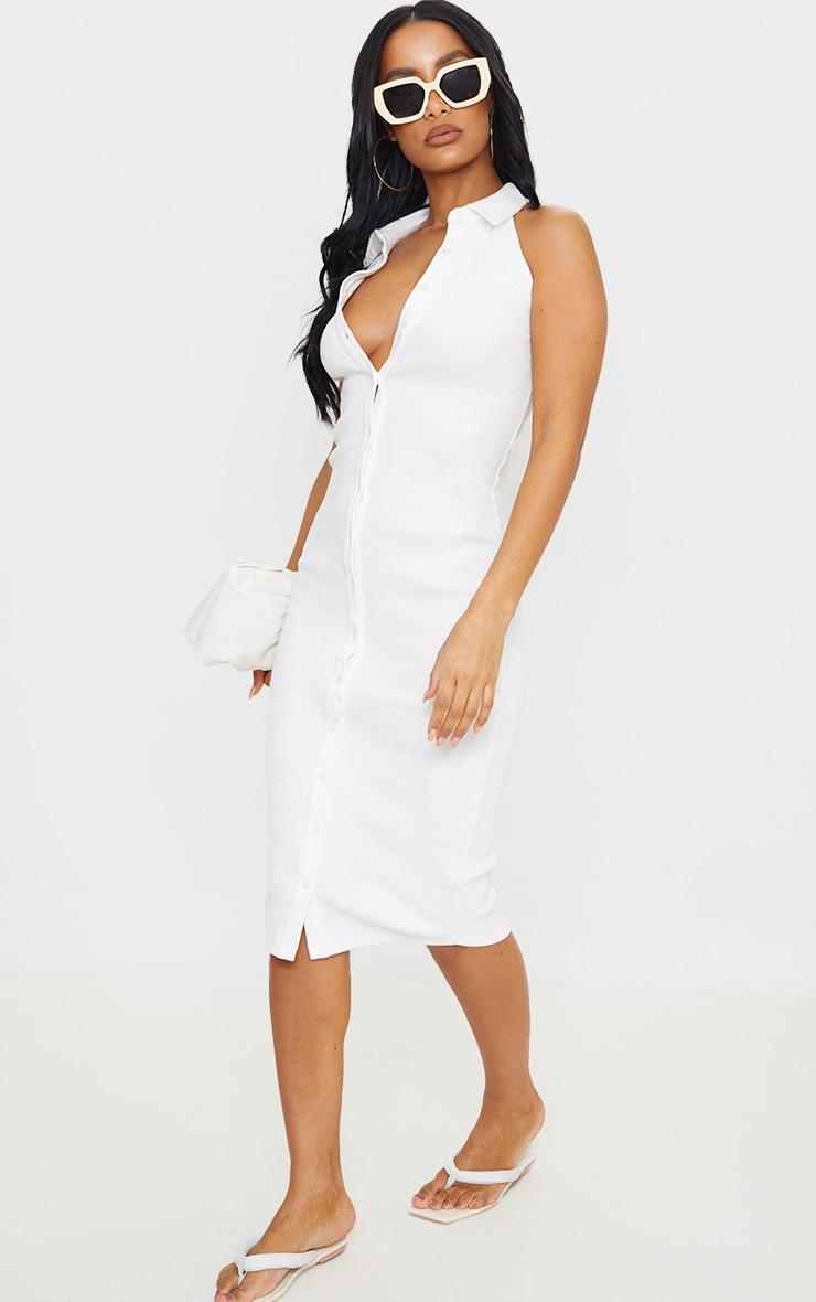White Rib Button Down Sleeveless Midi Dress 3