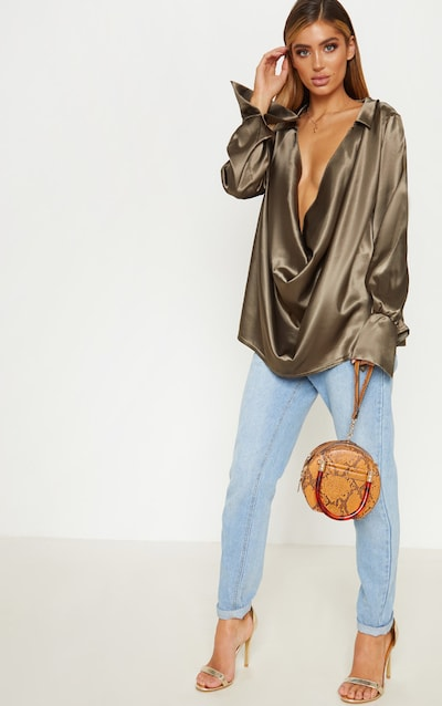 c9a4ef2127e Khaki Extreme Cowl Longline Satin Shirt