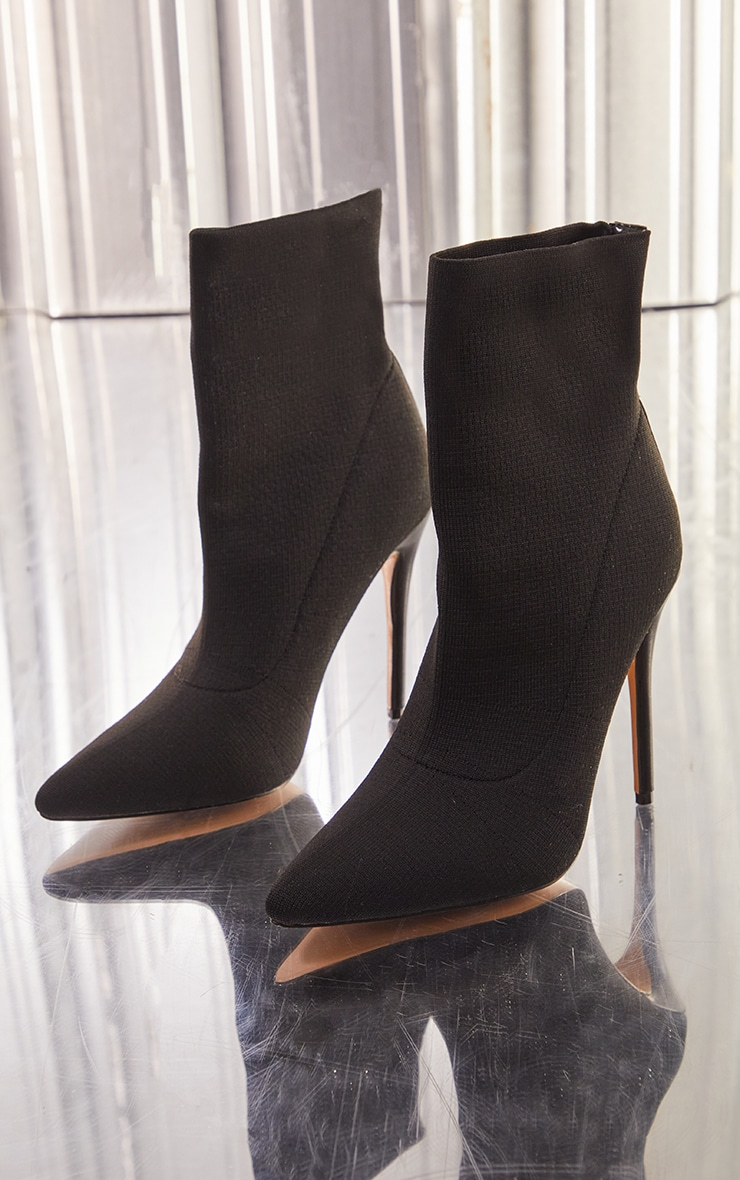 Black Knitted Pointed Sock Boots 3
