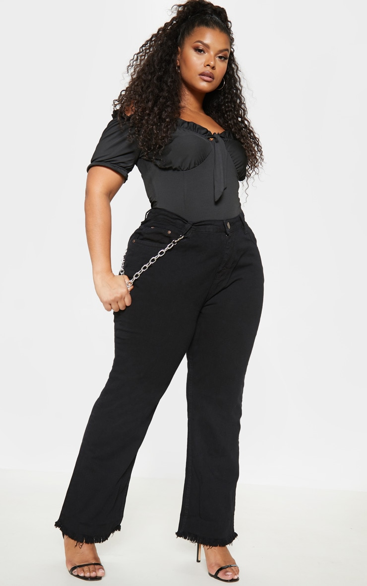 Plus Black Fray Hem Wide Leg Jean  1