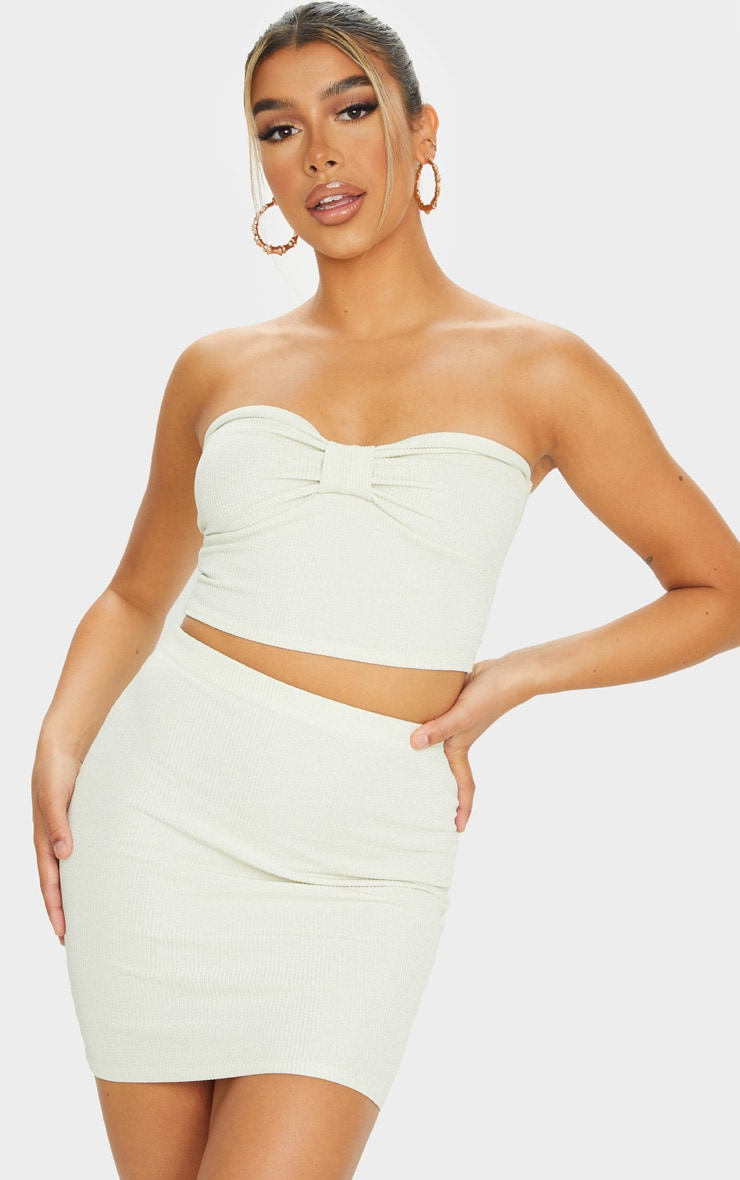 Sage Green Crinkle Rib Mini Skirt 4