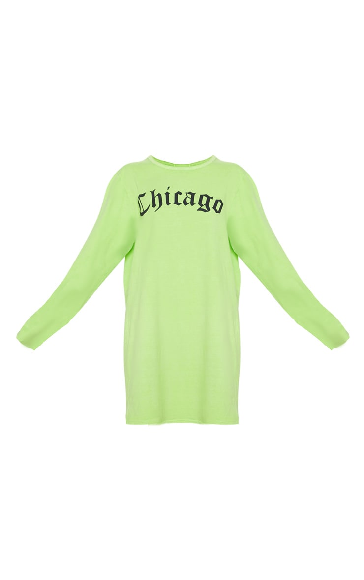Lime Acid Wash Chicago Slogan Long Sleeve T Shirt Dress 3