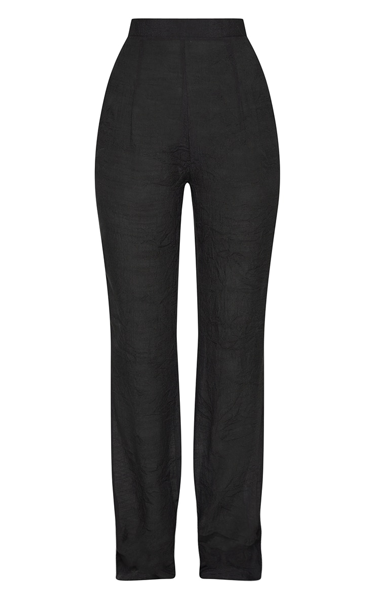 Black Wide Leg Linen Look Beach Pants 5