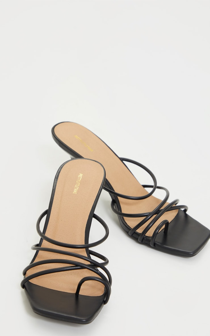 Black WIDE FIT Toe Loop Strappy Low Heel Mules 3
