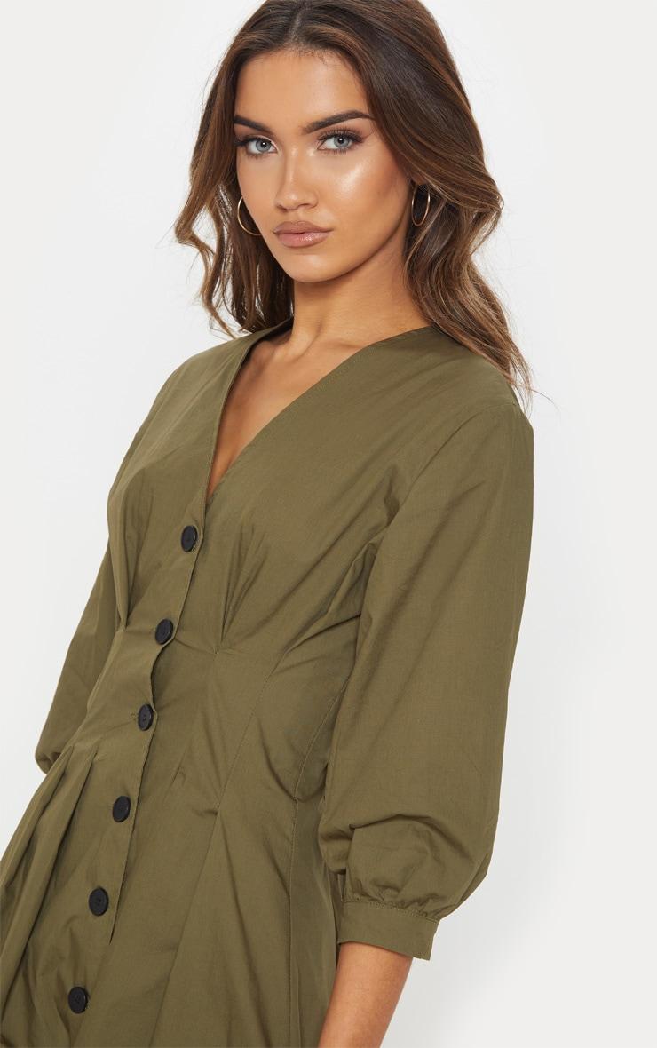 Khaki Button Front Midi Pleated Waist Dress 5