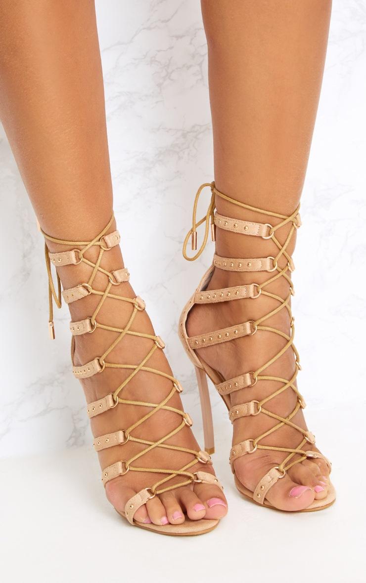 Josiane Nude Studded Lace Up Stiletto Heels 2