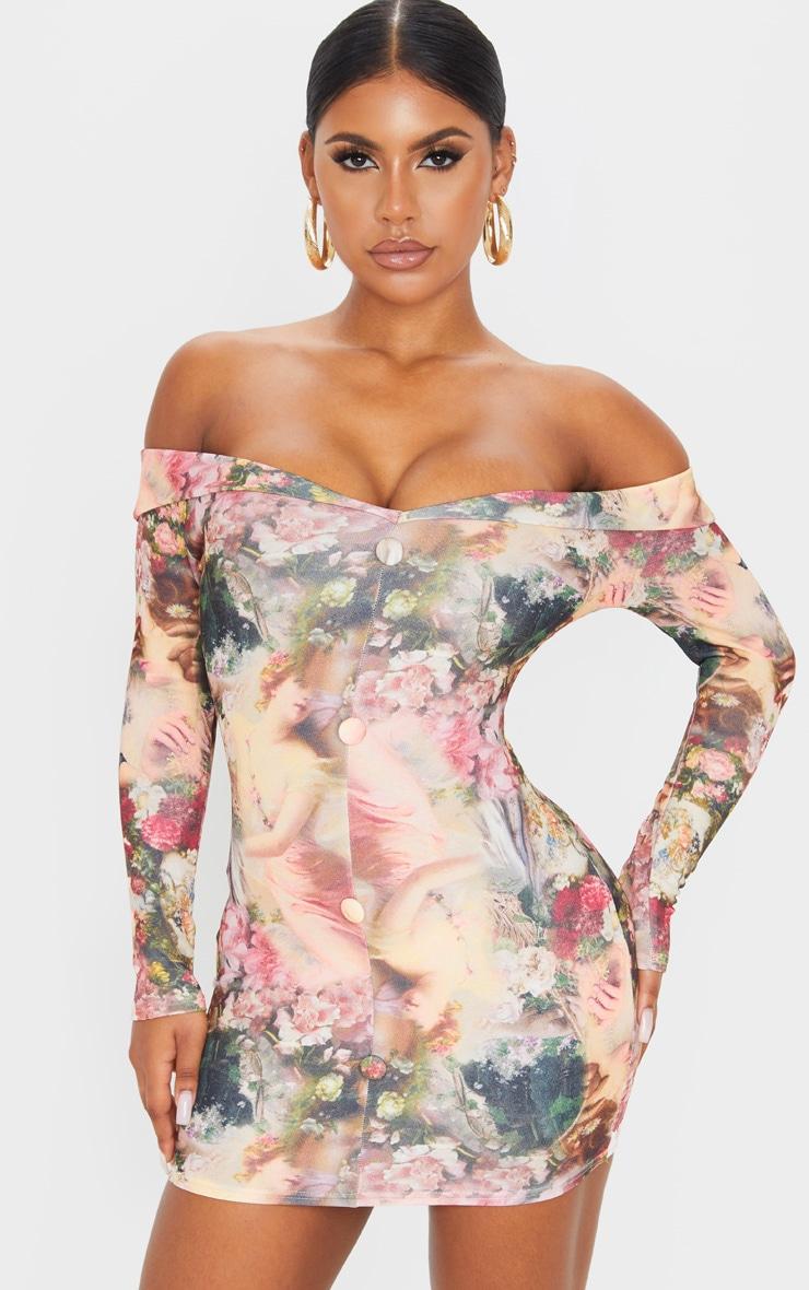 Multi Renaissance Print Bardot Button Down Blazer Detail Bodycon Dress 1