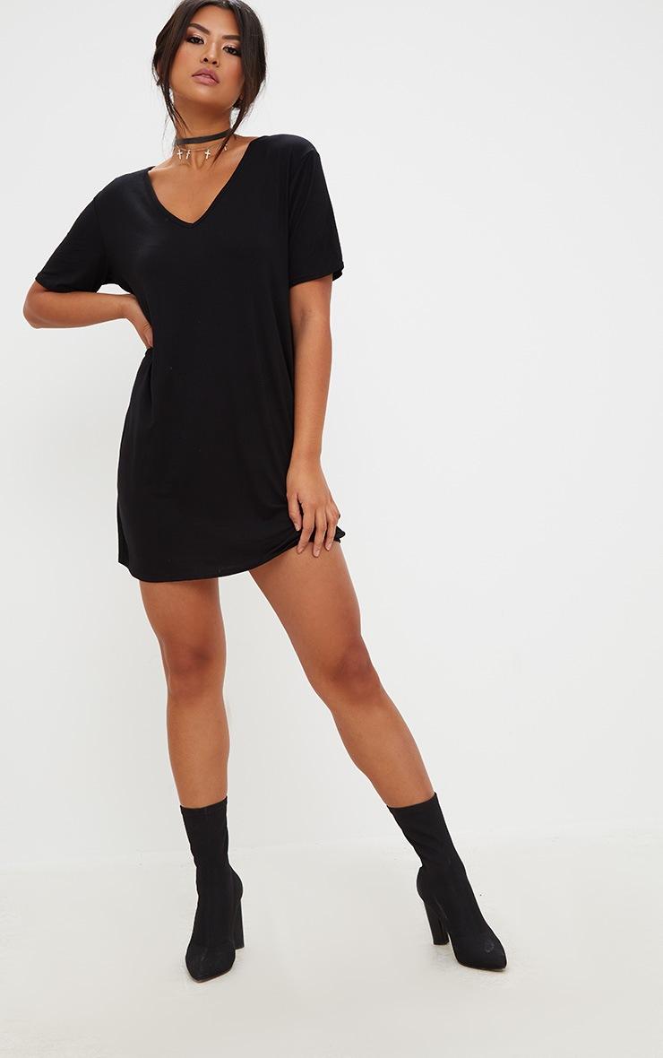 Black Jersey Back Strap Detail T Shirt Dress 4