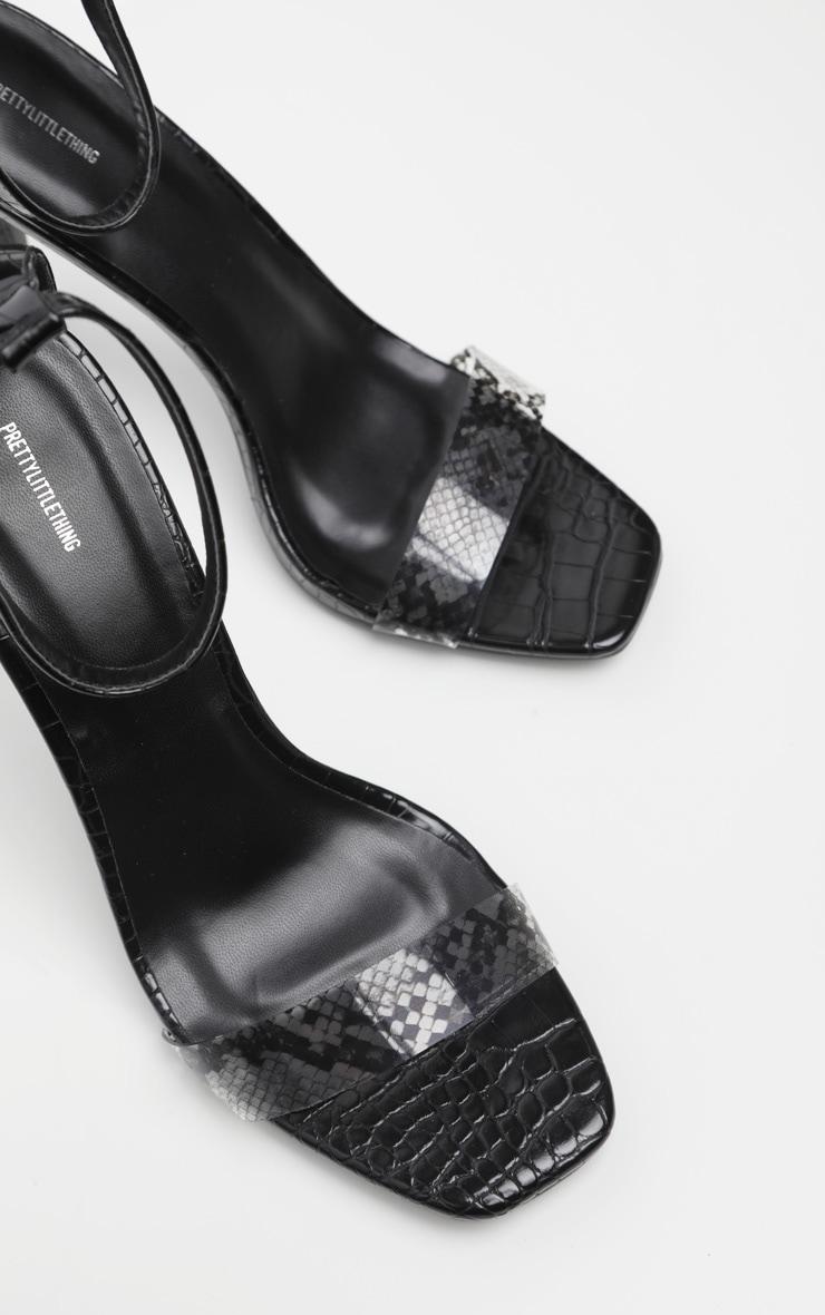 Black Square Toe Snake Strap Sandal 4