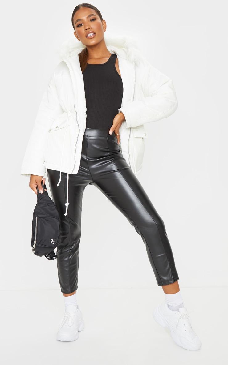 White Nylon Drawstring Waist Faux Fur Hooded Puffer Jacket 1